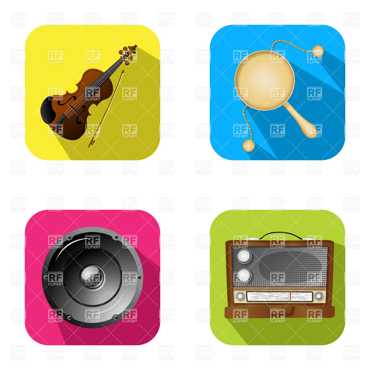 1200x1200 Music Instruments Icons Royalty Free Vector Clip Art Image