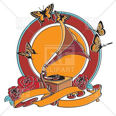 400x400 Retro Gramophone In Orange Colors