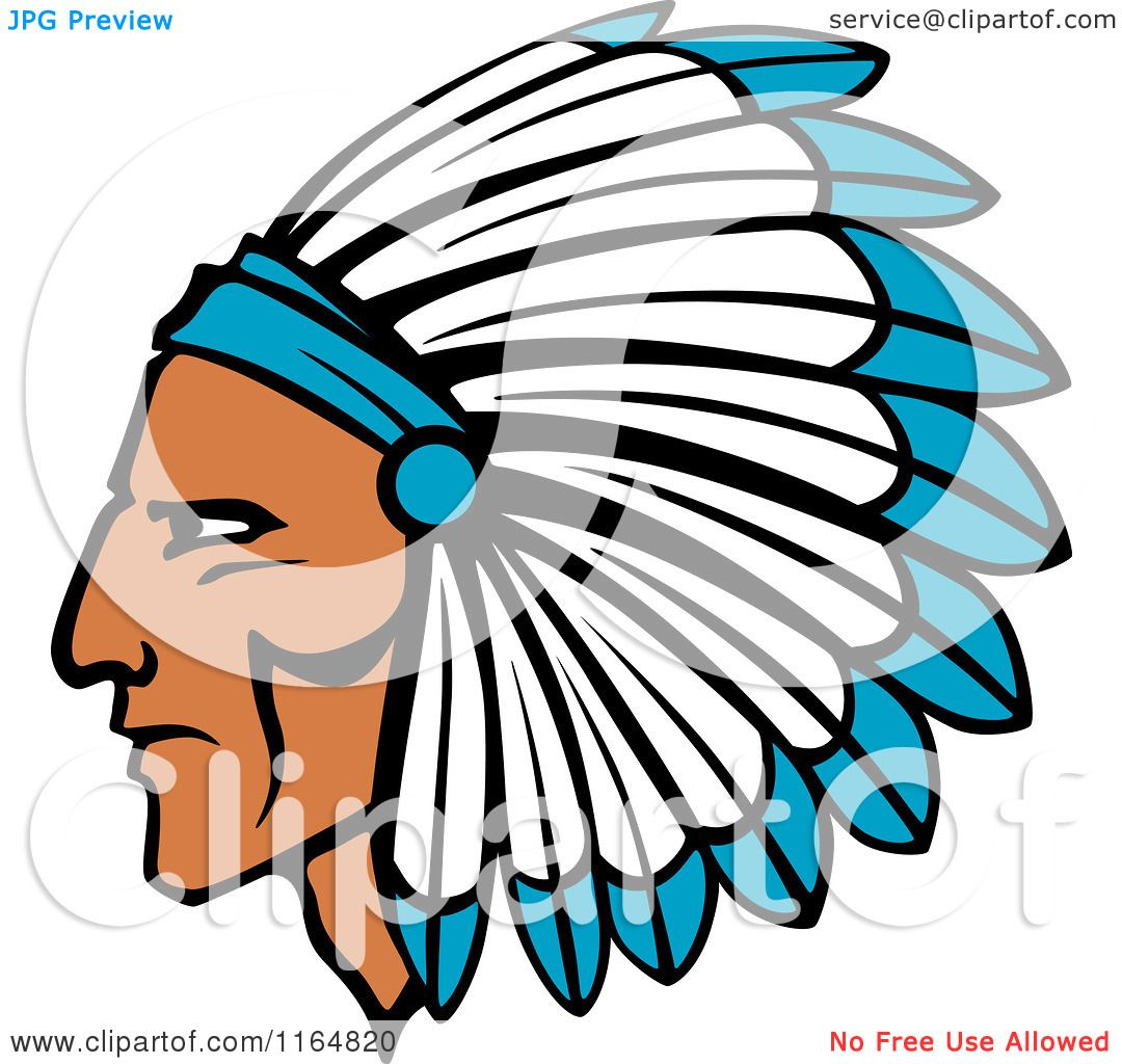 1080x1024 Clipart Of A Native American Brave With A Blue And White Feather