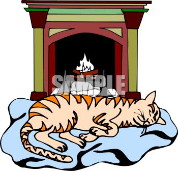 350x336 Family Cat Sleeping In Front Of The Fire