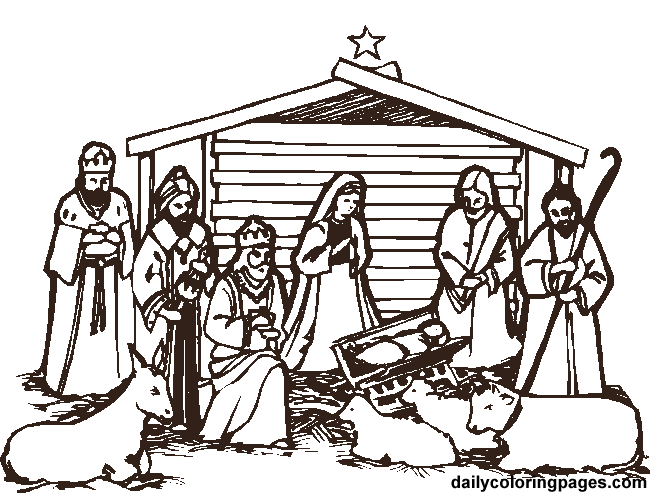 650x495 Nativity Scene Coloring Pages Free Printable Nativity Scene
