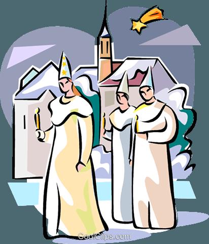 412x480 Swedish Sankta Lucia Boys Royalty Free Vector Clip Art