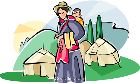 480x285 Tibetan People Woman With Her Baby Royalty Free Vector Clip Art