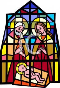 205x300 Christmas Stain Glass Nativity Scene Clipart Free