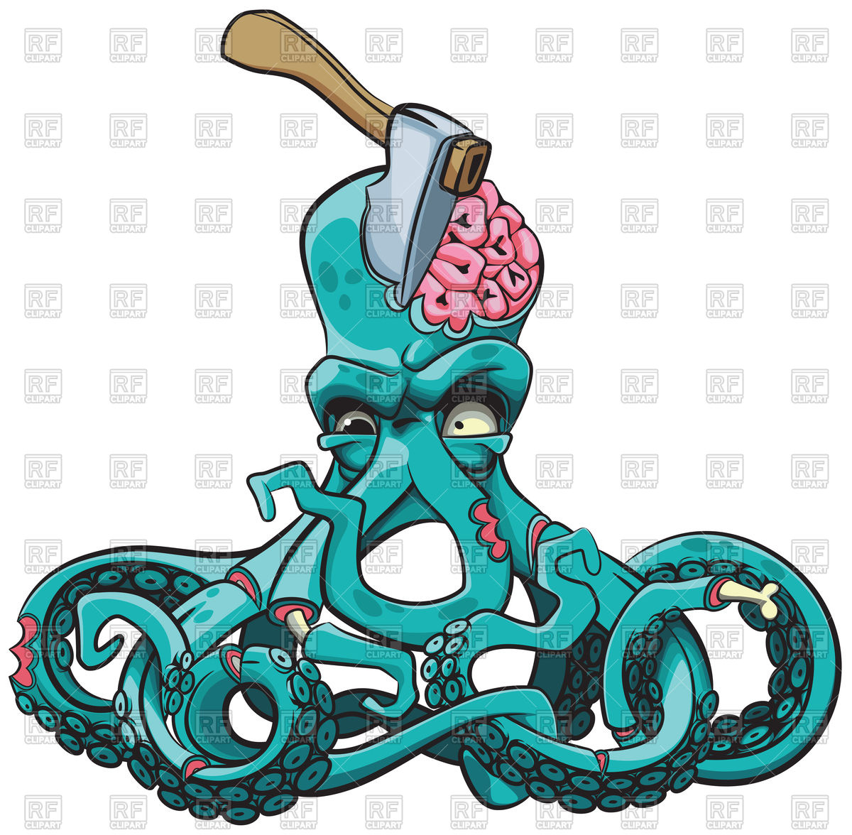 1200x1176 Ugly Octopus Zombie With Axe In His Head Royalty Free Vector Clip
