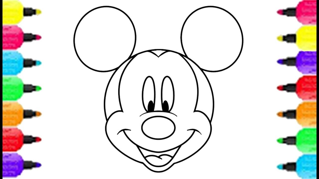 1280x720 Mickey Mouse Face Coloring Pages Smiley How To Draw Rishang86