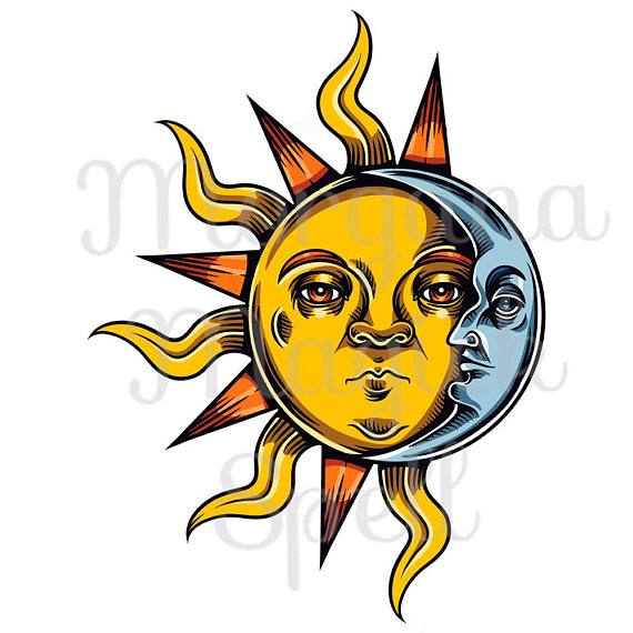 570x570 Occult Sun And Moon Royalty Free Clip Art Illustration Wiccan