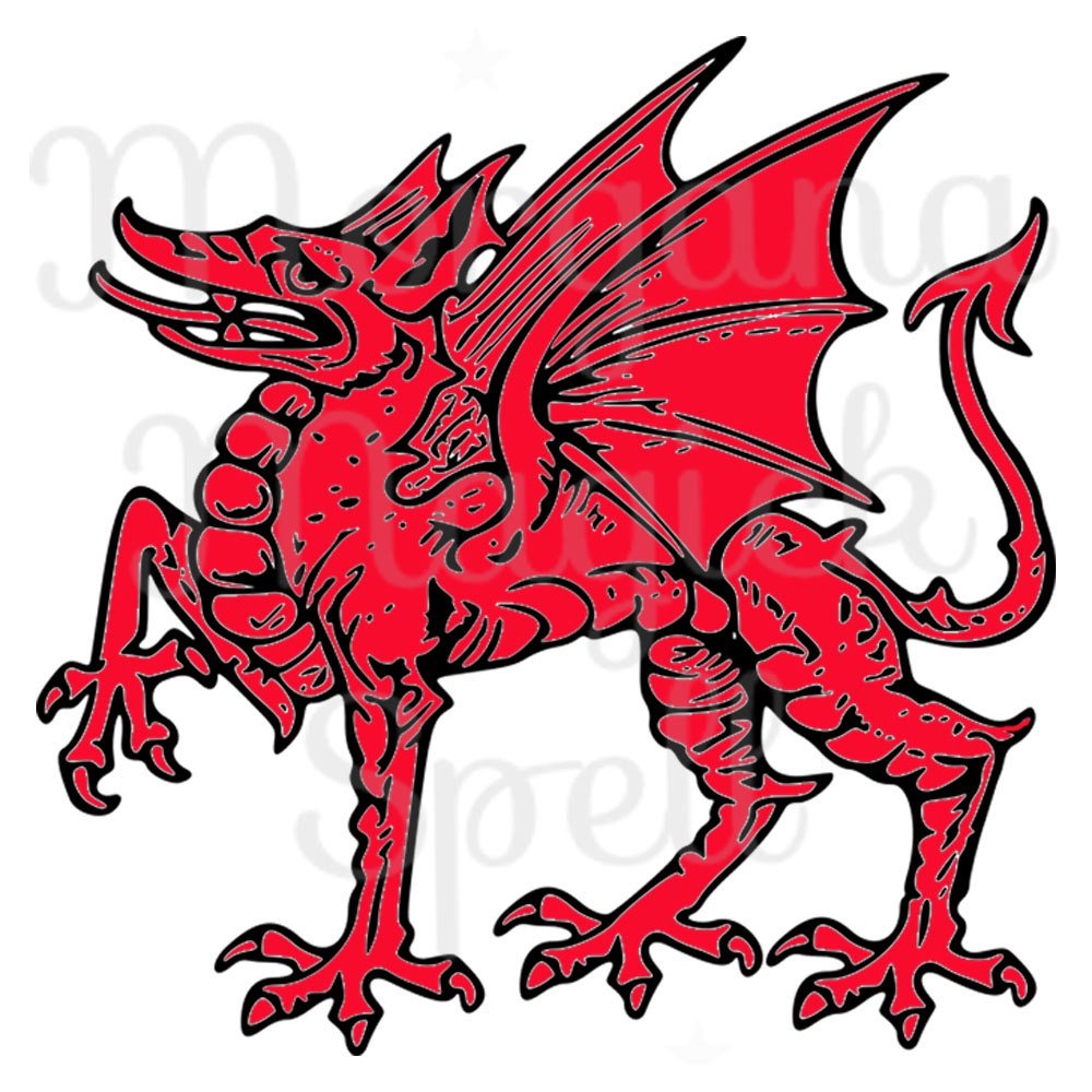 1000x1000 Welsh Dragon Royalty Free Clip Art Illustration Wiccan Digital