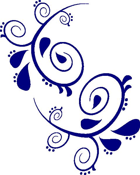 480x600 Navy Paisley Scroll Clip Art