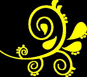 299x264 Paisley Curves Bright Yellow Clip Art