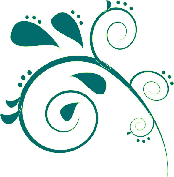 588x596 Teal Paisley Clip Art