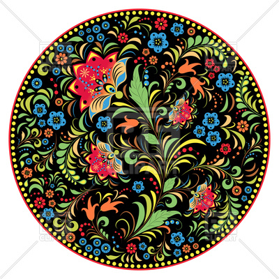 400x400 Floral Traditional Russian Ornament Khokhloma Royalty Free Vector