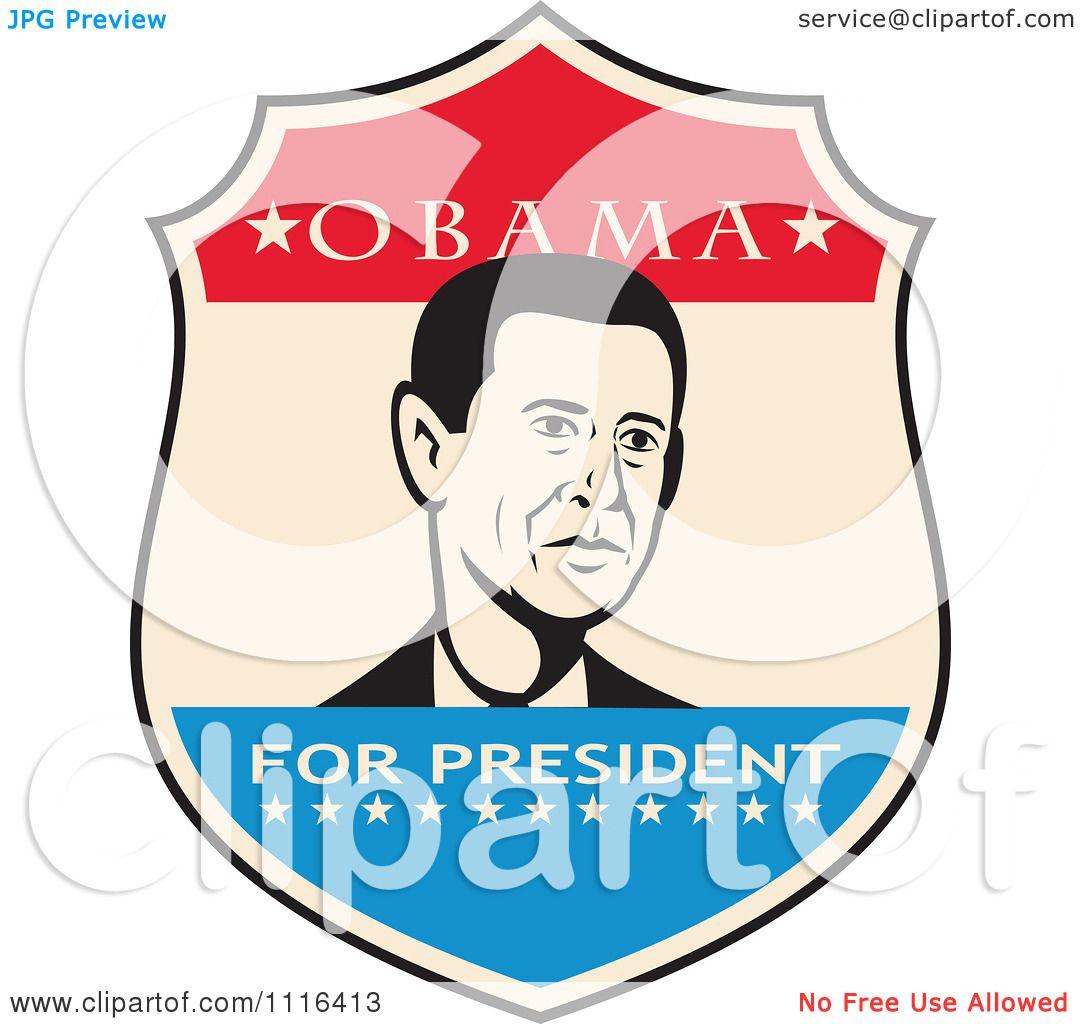 1080x1024 Clipart Retro President Barack Obama Portrait In A Shield