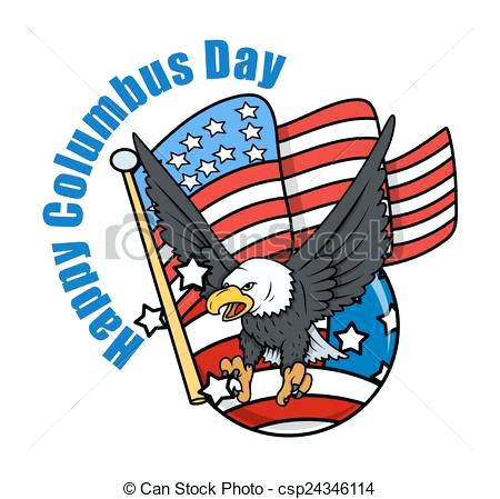 450x449 Free Columbus Day Clip Art Day Eagle With Flag Free Clipart