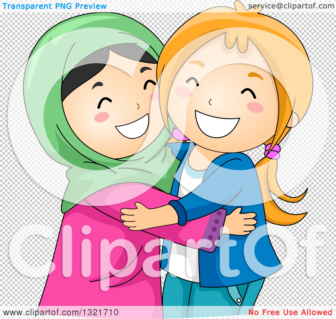 1080x1024 Clipart Of Happy Muslim And Christian Girls Hugging