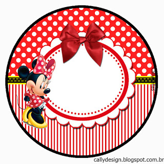 320x320 Minnie With Red Stripes Free Printable Cupcake Toppers