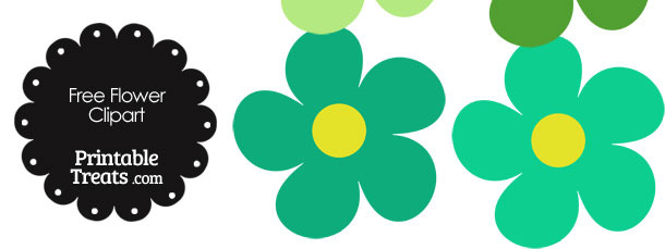 610x229 Cute Flower Clipart In Shades Of Green Printable