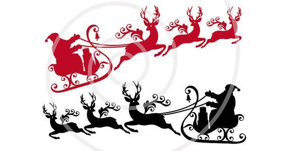 570x299 Santa Claus With His Sleigh, Deer, Reindeer, Stag, Christmas, Xmas