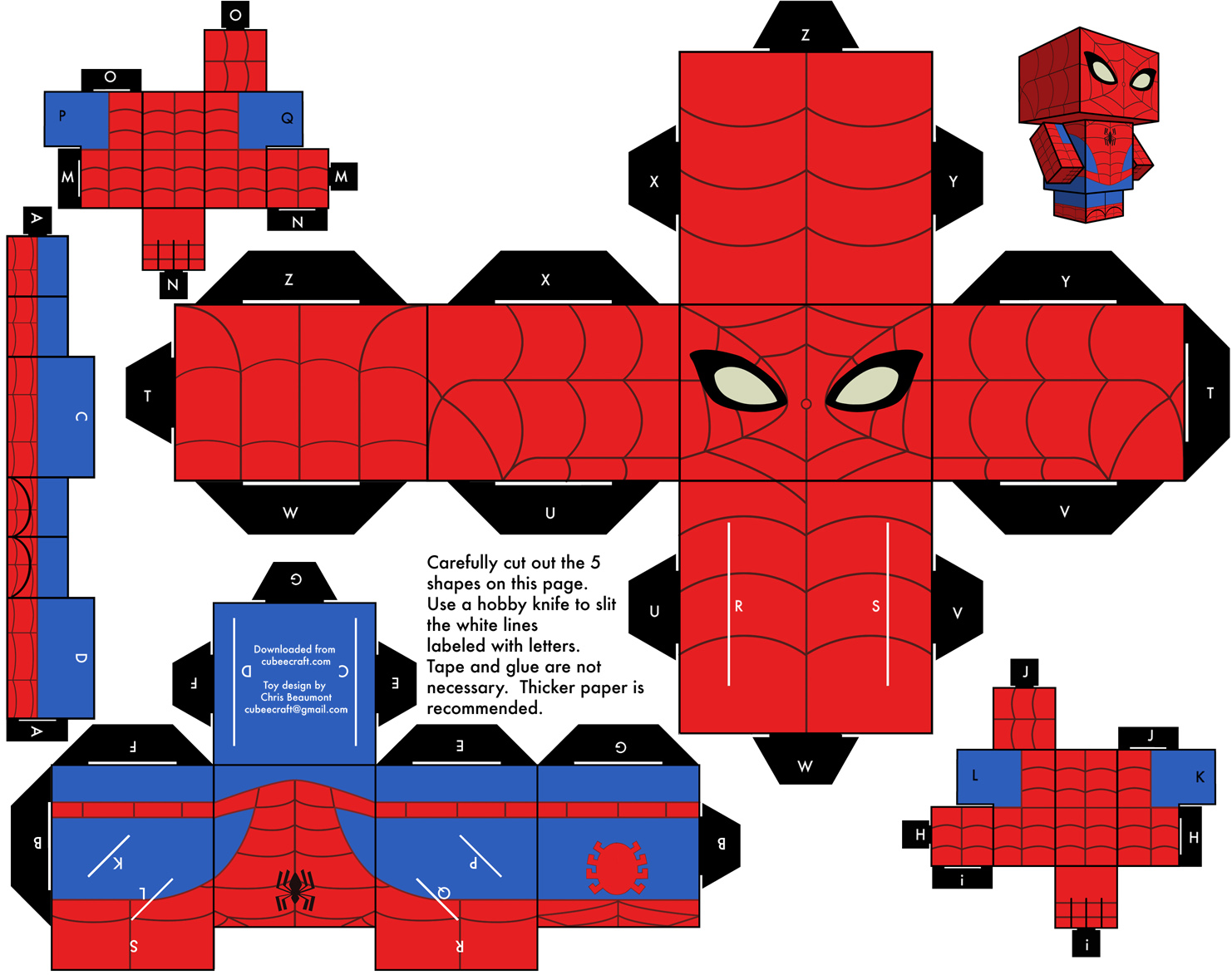 1482x1173 Spiderman Free Printable Cube Box.