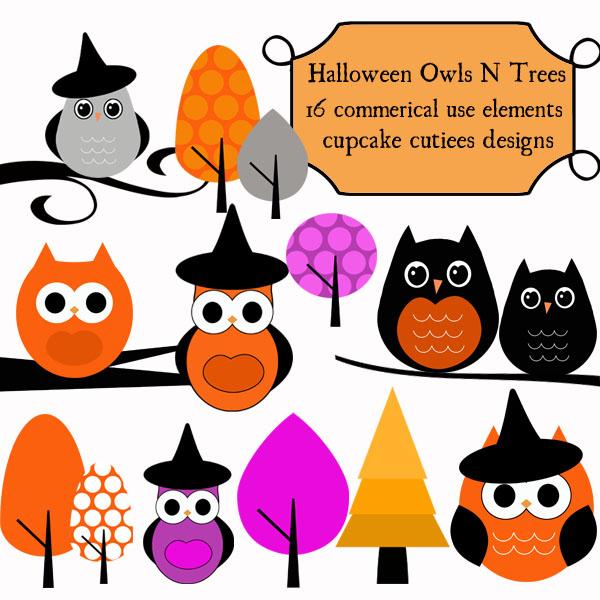 600x600 Cute Halloween Owl Clip Art