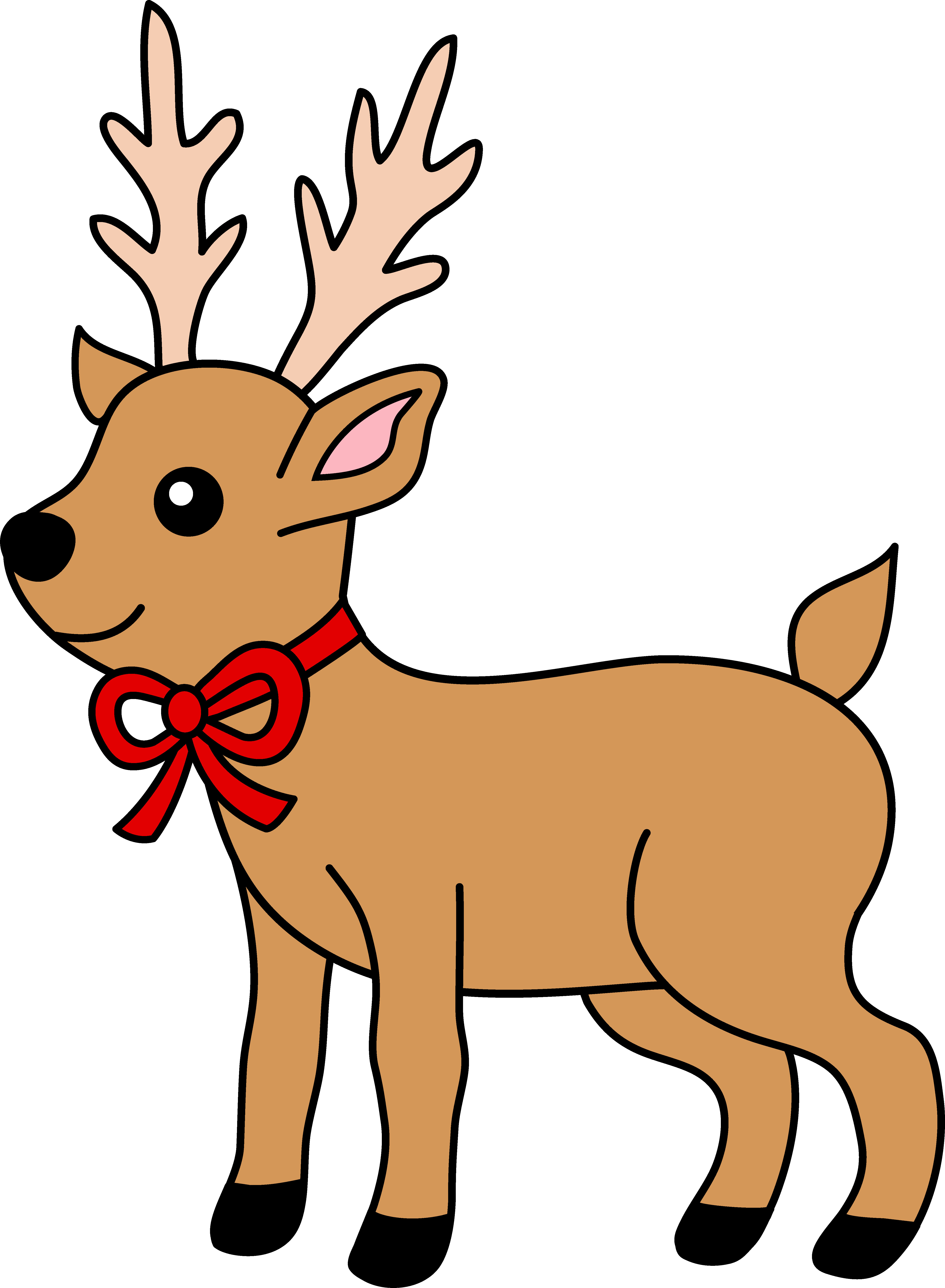 4945x6740 Christmas Reindeer With Red Ribbon Free Clip Art Incredible
