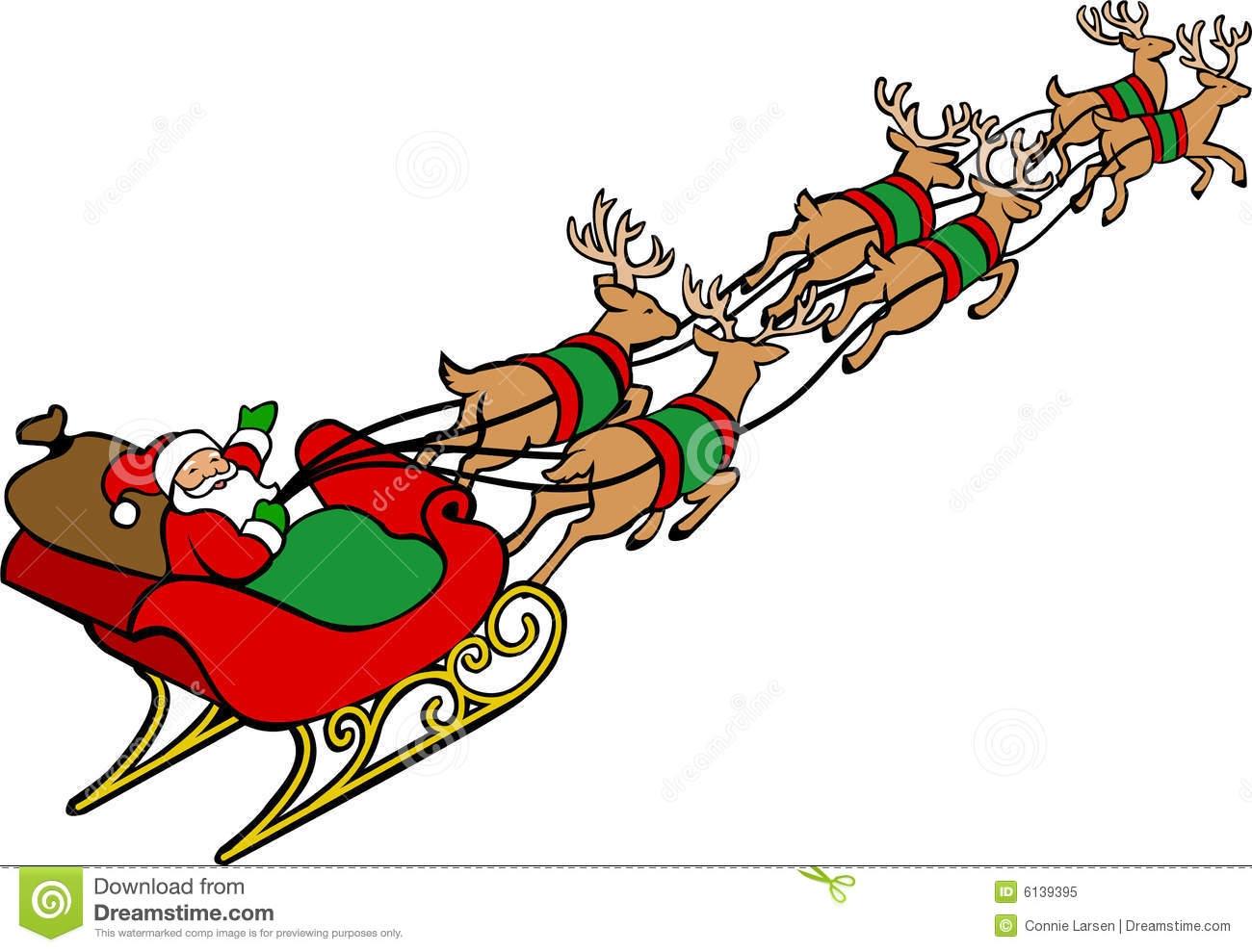 1300x989 Santa Claus Sleigh Reindeer Clipart