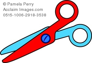300x208 Clip Art Image Of A Pair Of Child's Safety Scissors Cutting Paper