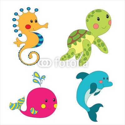 400x400 Set Of Cartoon Sea Creatures Wall Mural We Live
