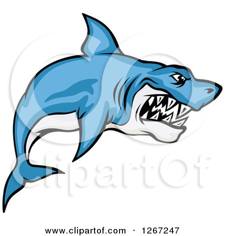 450x470 Clipart Of A Vicious Blue And White Shark