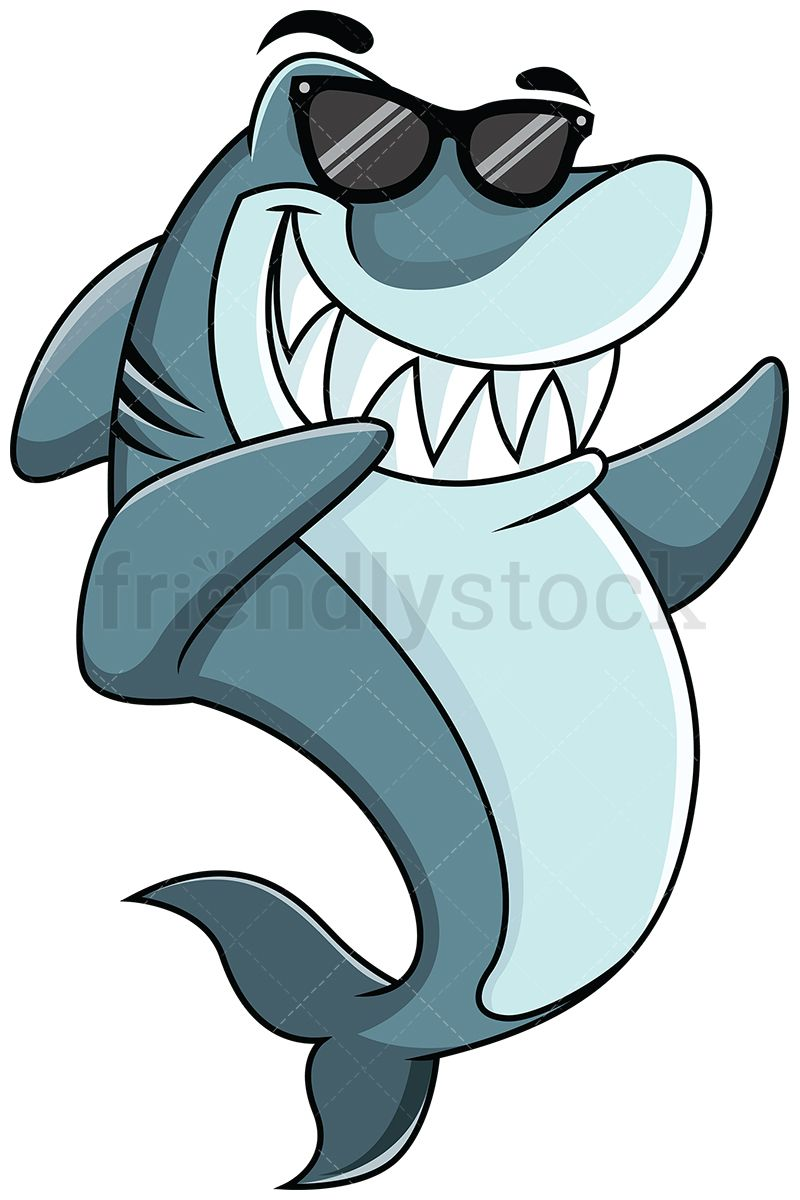 800x1200 Dabbing Shark Vector Cartoon Clipart Vector Vector, Dabbing