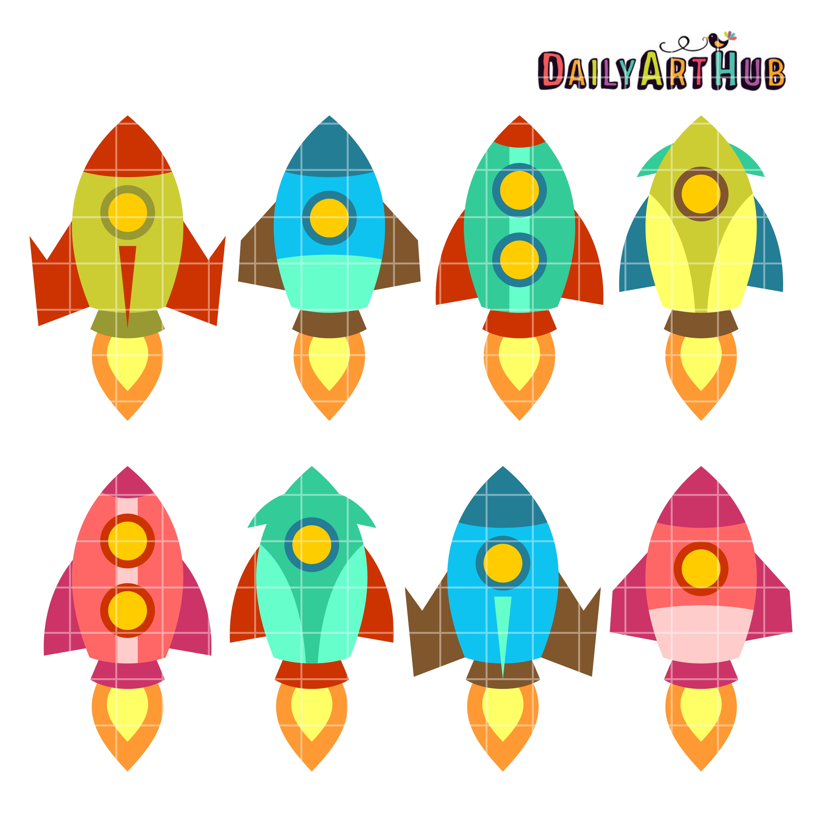 2664x2670 Old School Rocket Ships Clip Art Set Daily Art Hub Free Clip