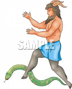 242x300 A Colorful Cartoon Of A Centaur Stepping Over A Snake