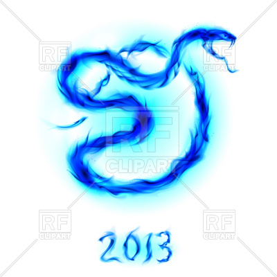400x400 Blue Flame Snake Royalty Free Vector Clip Art Image