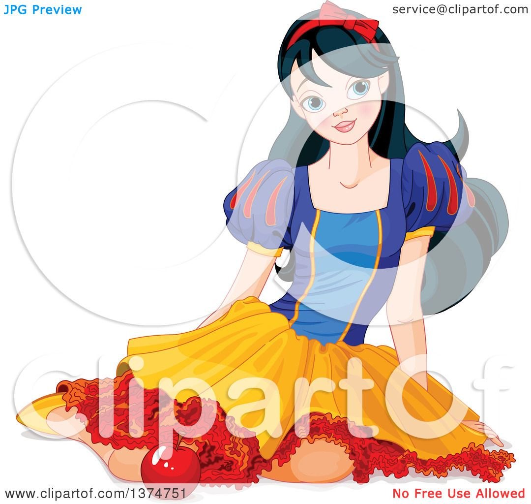 1080x1024 Clipart Of A Princess Snow White Sitting On The Ground