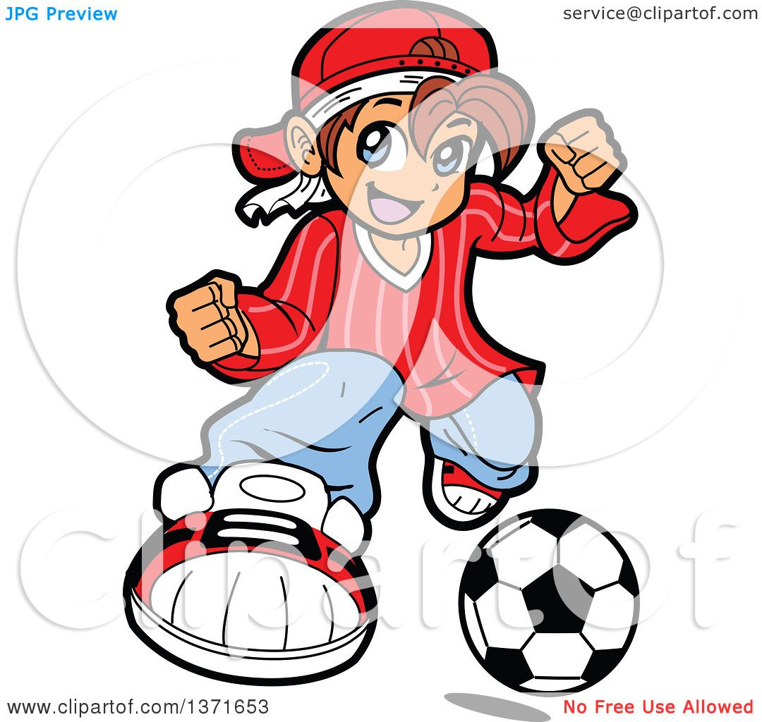 1080x1024 Clipart Of A Manga Boy Playing Soccer