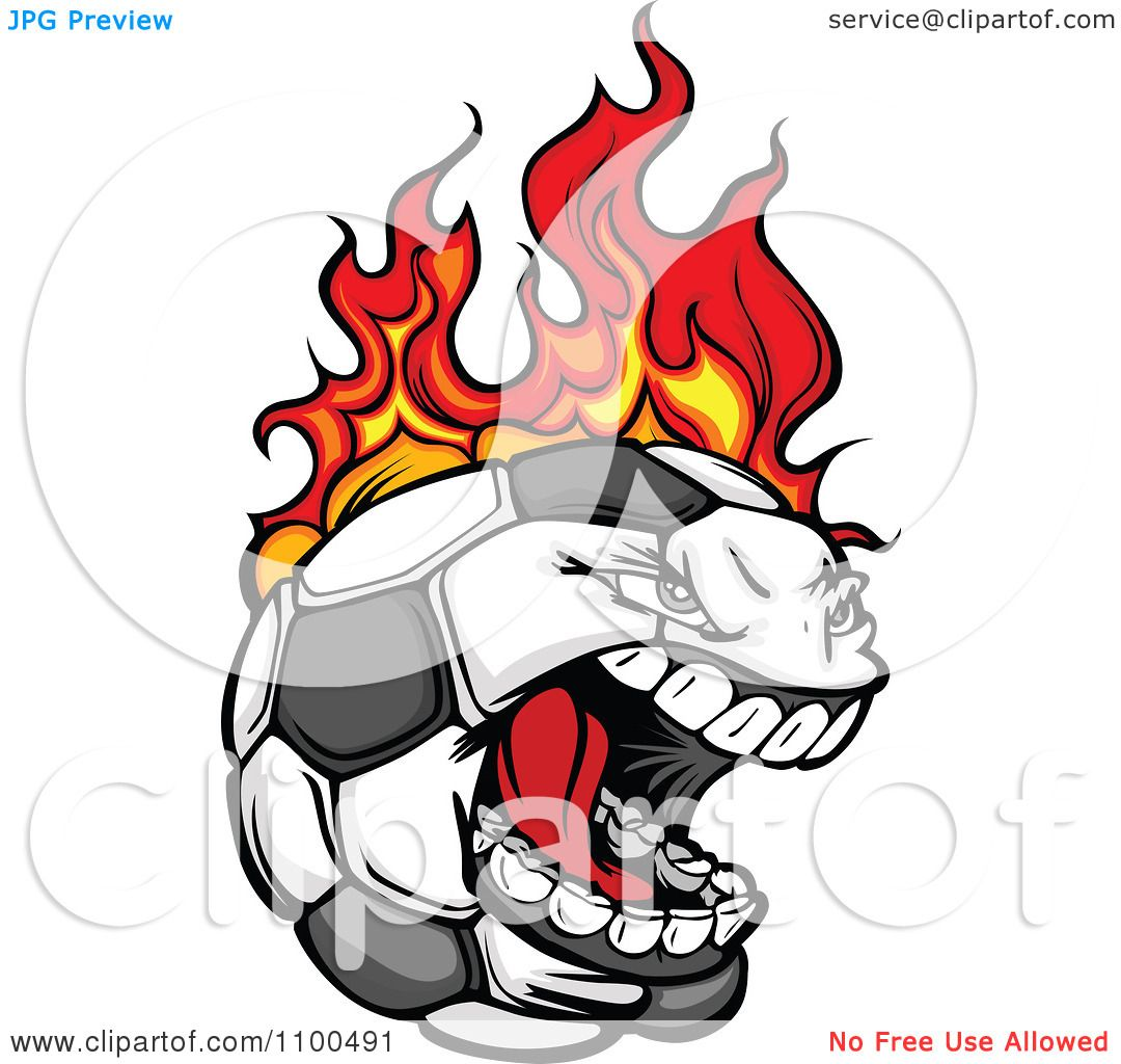 1080x1024 Clipart Screaming Aggressive Soccer Ball Mascot On Fire