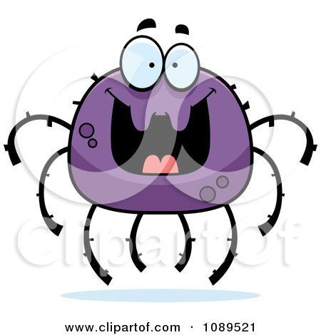 450x470 Clipart Graphic Of A Cartoon Surprised Spider Character Mascot