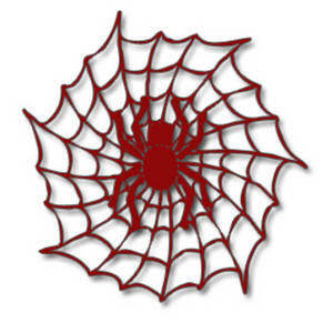 300x300 Free Halloween Clipart Picture Of A Red Spider In A Web