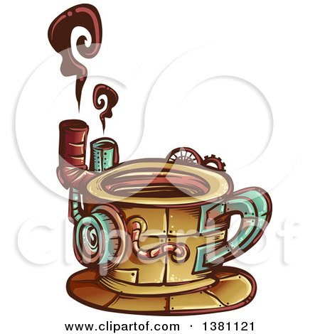 450x470 Clipart Of A Steampunk Coffee Maker Invention