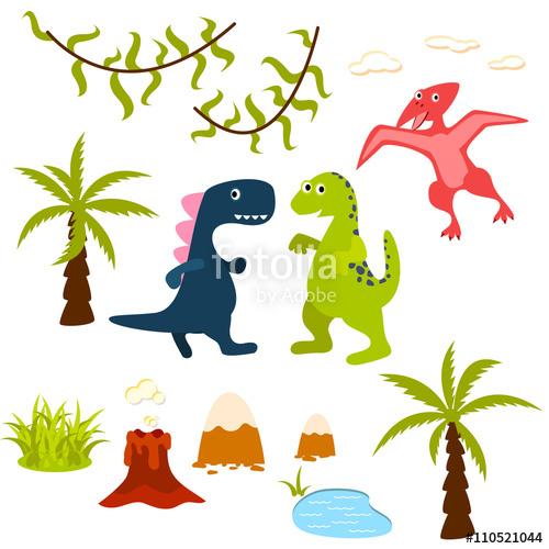 500x500 Dinosaur And Jungle Tree Clipart Set. Pterodactyl, T Rex