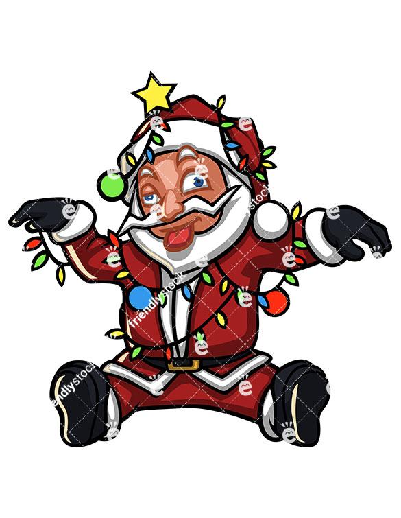 585x755 Dazed Santa Claus Tangled In Christmas Lights Vector Clipart
