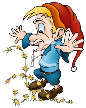 279x350 Royalty Free Clip Art Image Cartoon Of An Elf Tangled Up In Star