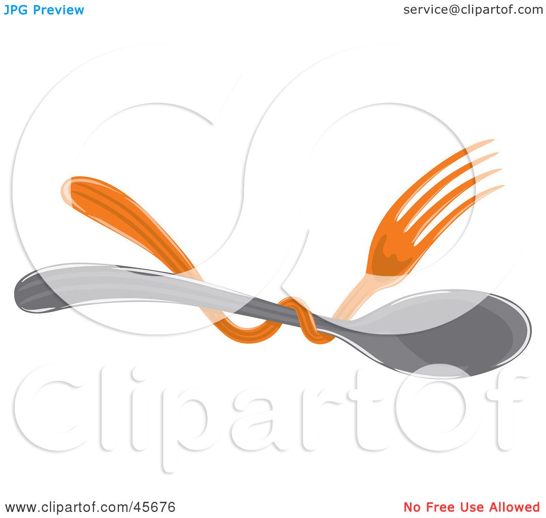 1080x1024 Royalty Free (Rf) Clipart Illustration Of An Orange Fork Tangled