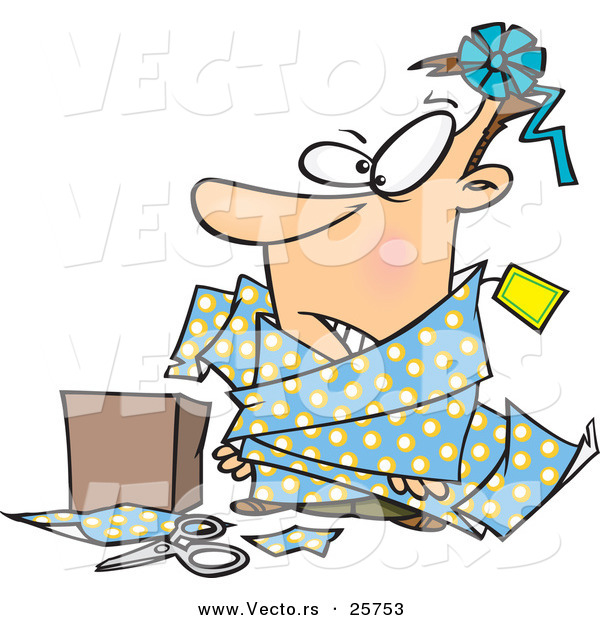 600x620 Cartoon Vector Of A Man Tangled In Wrapping Paper Beside A Box By