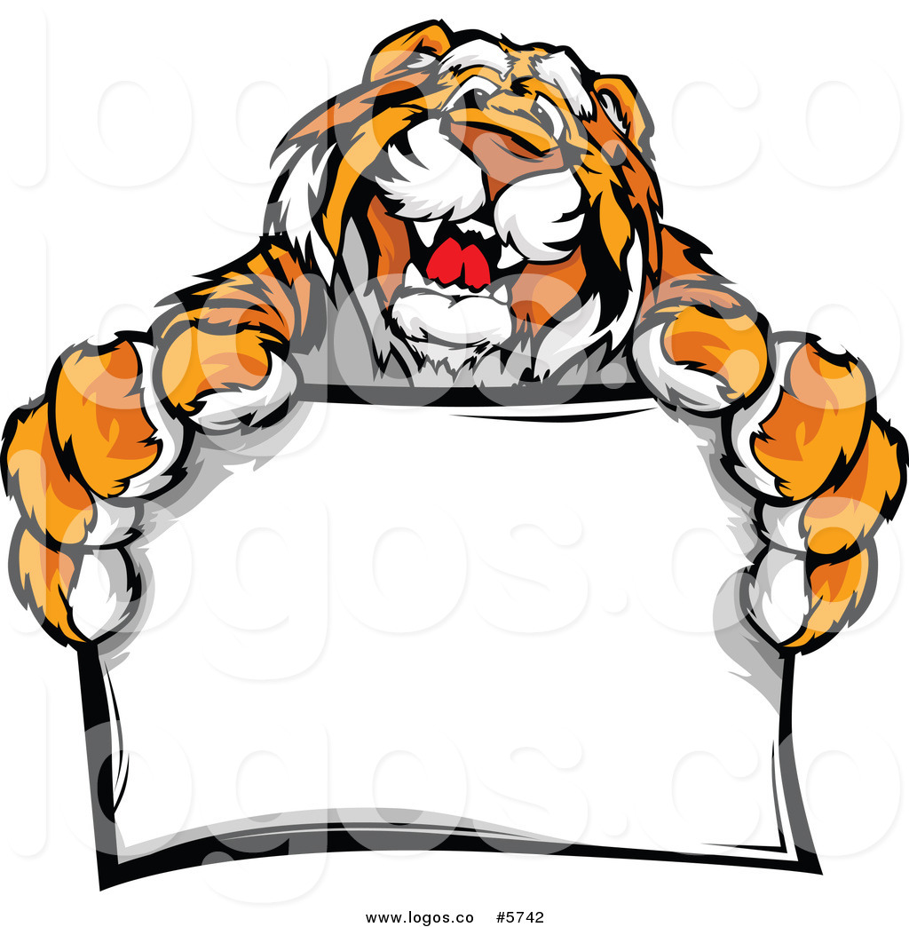 1024x1044 Royalty Free Vector Of A Logo Of A Friendly Tiger Holding A Sign