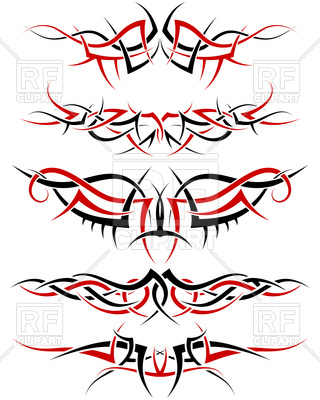 320x400 Set Of Black And Red Tribal Tattoo Patterns Royalty Free Vector