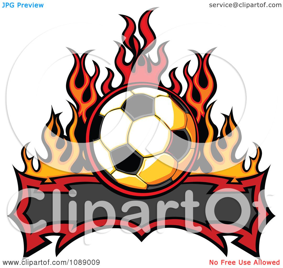 1080x1024 Clipart Tribal Banner With A Soccer Ball And Flames