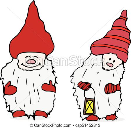 450x438 Outline Set Of Trolls Gnomes With Beards And Long Hats . Vector