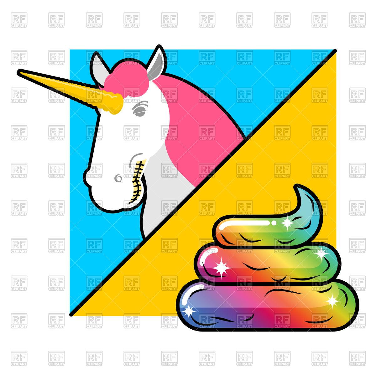 1200x1200 Unicorn On Bright Background And Turd, Magic Animal Royalty Free