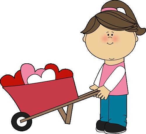 500x457 Valentine's Day Clip Art Free Girl Pushing Wheelbarrow Of Hearts